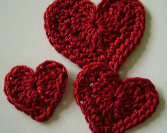 Trio of Crocheted Hearts - Red Hearts - Cotton Hearts - Crocheted Heart Appliques - Crocheted Heart Embellishments