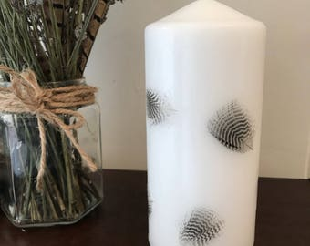 Teal feather pillar candle