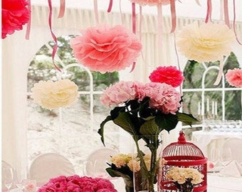 15 beautiful paper flowers, mix sizes and colors 10, 15 and 20cm