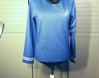 Star Trek Adult Blue Spock Shirt Uniform Enterprise Space Halloween Costume Cosplay Convention Movie Long Sleeve Medium Small