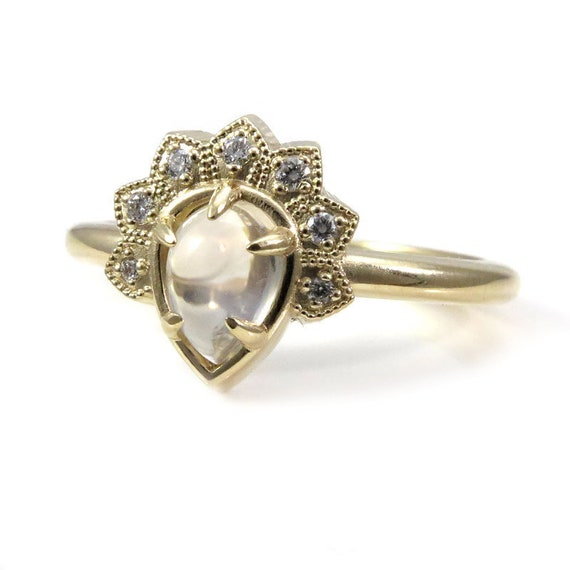 Moonstone and Diamond Asteroid Crown Ring - Rose, Yellow or White Gold Pear Engagement Ring