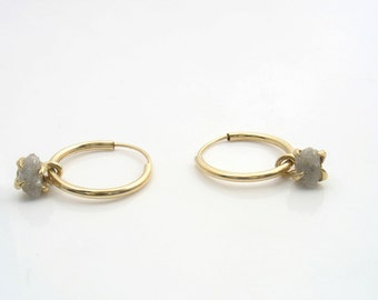 Solid 14k yellow gold Gypsy hoop style earrings with rough diamond set in gold, wedding earrings or  women that want to look at their best.
