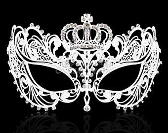 Masquerade Mask, White Masquerade Mask,  Masquerade Ball Mask, Mask w/ Exquisite Rhinestones,  [Clear Rhinestones]