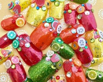 Fruity French Fake Nails, Fruit Salad False Nails, Rainbow Fruit Nail, Kawaii, False Nails, Acrylic Nails, Japanese Nail Art, 3D Fake Nails