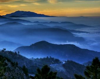 Landscape Photography Nature Photography Mountain Photography Morning fog blue wall art home decor  Fine Art Photography Print