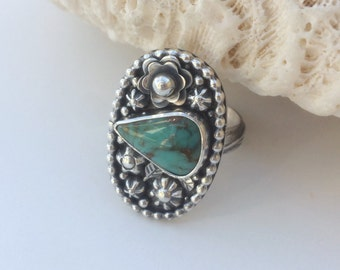 Silversmith Flower Ring, Size 7 1/4 Sterling Silver Kingman Turquoise Ring, Blue Handcrafted Statement Jewelry, Artisan Boho Chic Floral