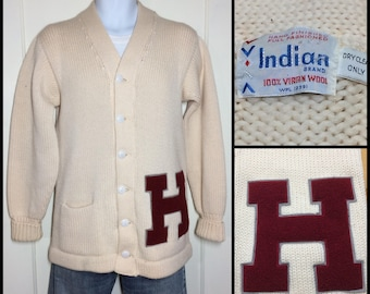 1960s Harvard University Crimson letter H patch varsity stadium cardigan thick virgin wool letterman sweater looks size medium cream color