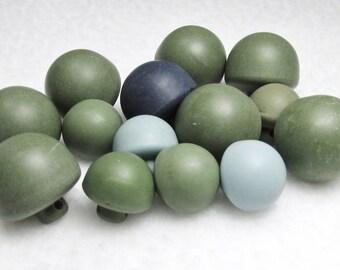 Retro Blues, Retro Greens: Vintage Half-Ball Button Assortment - Set of 14 Buttons