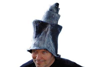 Sci Fi Costume Headdress Rocket Shaped Tall Wizard Headpiece Cosmos Milky Way Star Trek Hat Festival Fashion Headgear Cosplay WearableArt