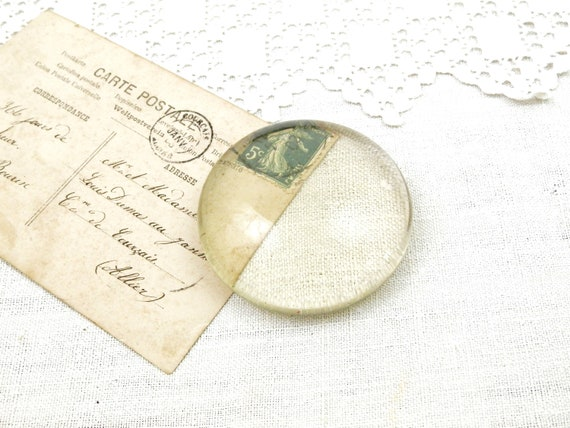 Antique Round Flat Clear Glass Paper Weight from France, Magnifying Glass Weight, Shabby French Chateau Country Cottage Chic Decor, Office