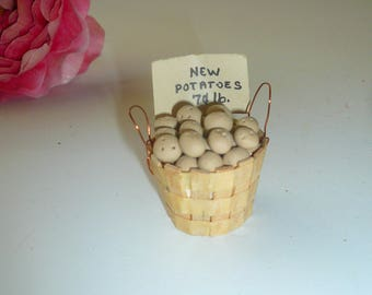 Dollhouse Miniature Kitchen Miniature Food Basket Potatoes Collectible by VintageReinvented