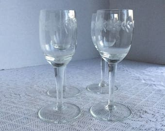 Vintage Cordial Glasses /  Etched Glass Mid Century Stemware / Set of Four