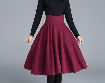 wine red skirt, wool skirt, pleated skirt, knee length skirt, swing skirt, cute skirt, casual skirt, high waist skirt, elegant skirt 1678
