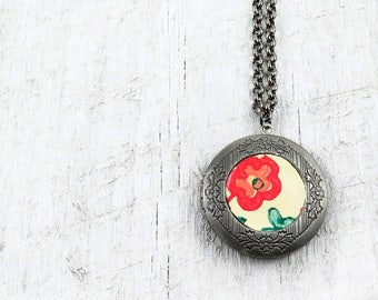 Vintage Inspired Silver Locket Necklace with Vintage Floral Wallpaper Inlay