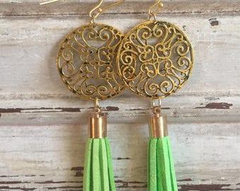 Lime green tassel earrings