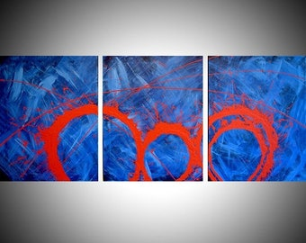 "extra large wall canvas triptych abstract painting huge art original hanging ""Crimson Chaos"" three 3 panel three panel"