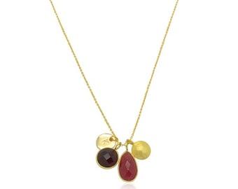 Onyx Rouge et 18K or collier, collier de pierre gemme de calcédoine de couleur Bordeaux foncé, or et collier de pierres précieuses, des cadeaux pour maman, cadeaux de fête des mères
