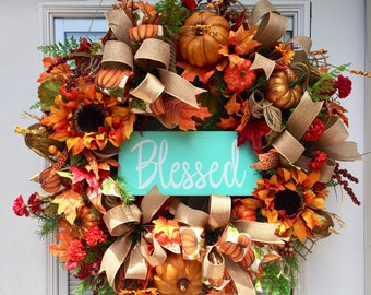 Fall Wreath for your front door, Burlap Wreath for your door,  Pumpkin Burlap Wreath, Fall Wreath, Thanksgiving Wreath, Pumpkin Wreath
