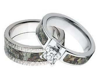 His And Heru0027s Matching RealTree Timber Camouflage Wedding Ring Set:  Timber 6F14G1PCTW   8F TB RT Timber
