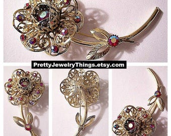 Sarah Coventry Red Pink Flower Pin Brooch Gold Tone Vintage Aurora Borealis Reflective Stones Filigree Scroll Leaves