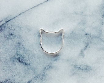 Silver Cat Ring - Cat Jewelry, Silver Ring, Simple Ring, Minimalist Ring, Everyday Ring
