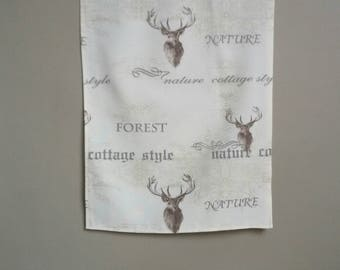 Table runner, deer, font, forest, cottage, country house