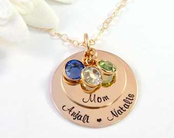 Personalized Gold Mother's Necklace, 14k Gold-Filled Mommy Necklace, Necklace for Mom with Birthstones, Handstamped