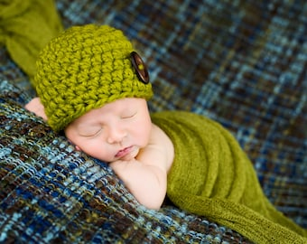 Newborn Baby Hat Newborn Baby Girl Hat Newborn Baby Boy Hat Wood Button Baby Beanie Lemongrass Green Baby Hat Newborn Photo Prop Clothing