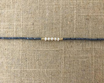 mini pearl and gunmetal necklace