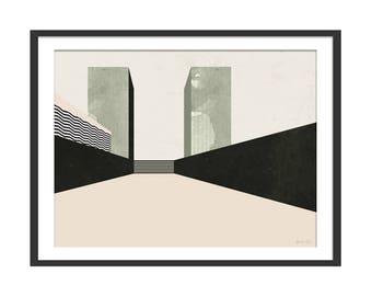 Cityscape Print. Minimal Landscape Abstract Print. Scandinavian Style Wall Decor