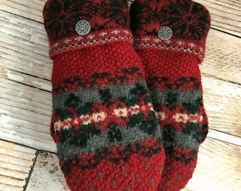 Sweater Mittens - Super Warm!  upcycled, felted wool and DOUBLE lined reds, suede palm