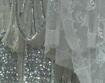 ART DECO 1920's Flapper Great Gatsby, inspired irridescent sequins, shimmering Wedding Dress, Beaded Deco dress