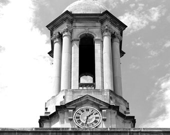 Penn State Photography, Black and White Photo,PSU, Nittany Lions, Large Wall Art, Old Main 3, Clock Tower, 20x24 inch Fine Art Photograph