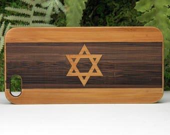 Israel Flag iPhone 8 Case. Jewish Religious Symbol. Israeli Hanukkah Gift Star of David with Stripes. Bamboo Wood Cover. iMakeTheCase Brand