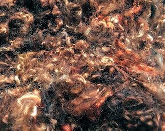 Rootbeer - Kid Mohair Locks - Spinning Weaving Felting Doll Troll Hair - Hand Dyed - 1 oz