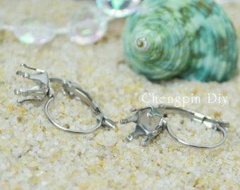 French Six claws Earring Bases Blanks-Surgical Steel Earring Base, Earring blank Stainless Steel-Crown Earring Findings - Earring Leverback