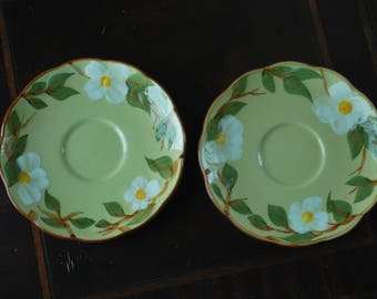 "Stangl White Dogwood  6"" Saucers (2) -#5167 - Mid-Century - Art Pottery"