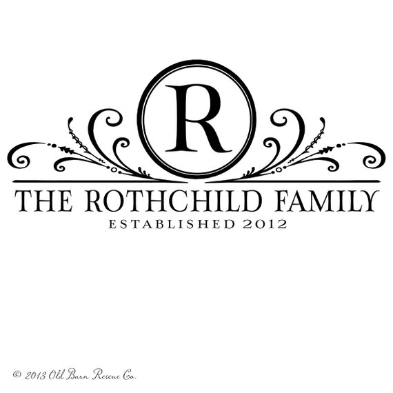 Family Monogram With Established Date Personalized Vinyl - Family monogram wall decals