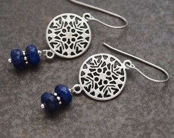 Nordic Snowflake Earrings, Lapis Earrings, Nordic Gift, Snowflake Earrings, Simple Stone Earrings, Gift for Her