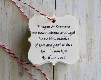 BLOW BUBBLES, Bubbles Wedding Favor, Wedding Favor Tags, Thank You Tag