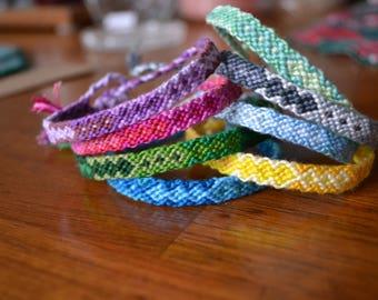 Customizable thin diamond pattern friendship bracelet