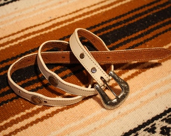 White vintage western concho belt small