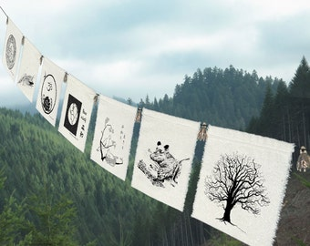Earth Prayer Flags-Nature gift-Earth gift-Nature-Bunting-Nature gift-Bear-Doves-Earth-Lotus-Sea Turtle-Wave-Tree-Entry Decor-HomeDecor
