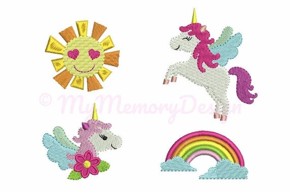 Unicorn Set Embroidery Design Mini Filled Stitch Machine