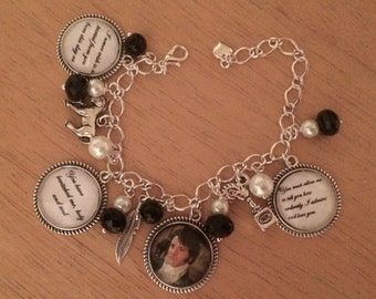 Pride & Prejudice / Mr Darcy Charm  Bracelet - Unique, Handmade (FREE or LOW COST shipping)