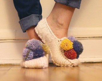 Pom-a-rama Slippers knitting pattern pdf - fun pom pom slipper socks