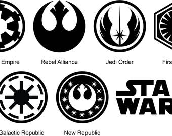 Star Wars Symbols Silhouette And Stencil Outline Logo Digital Clipart, Instant Download DXF, SVG, Scrapbooking, Star Wars Template Vector