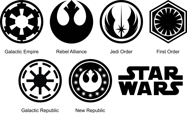 star wars symbols silhouette and stencil outline logo digital