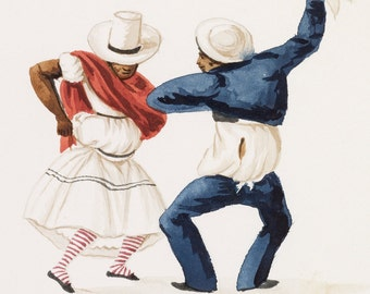 Unknown Peruvian Dancing Couple Home Decor Wall Decor Giclee Art Print Poster A4 A3 A2 Large Print FLAT RATE SHIPPING