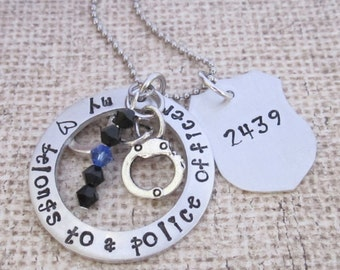 Police wife jewelry-My heart belongs to a police officer- hand stamped jewelry- necklace-personalized- police jewelry--Thin blue line